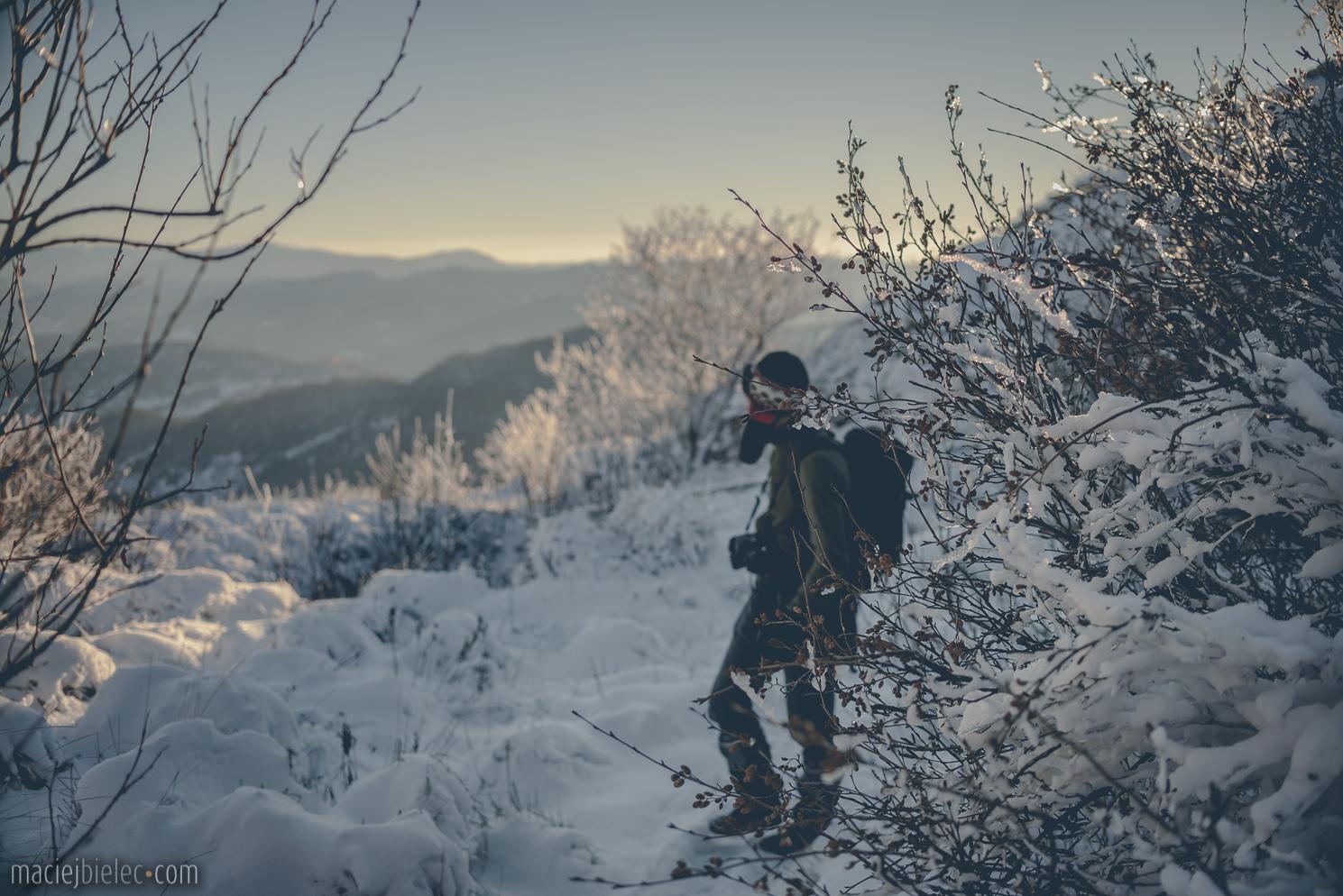 Podejście na Rozsypaniec zimą