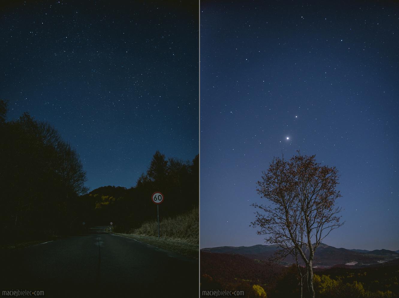 Droga na przełęcz Wyżniańską z Ustrzyk Górnych nocą