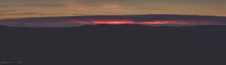 Zachód słońca z Połoniny Caryńskiej